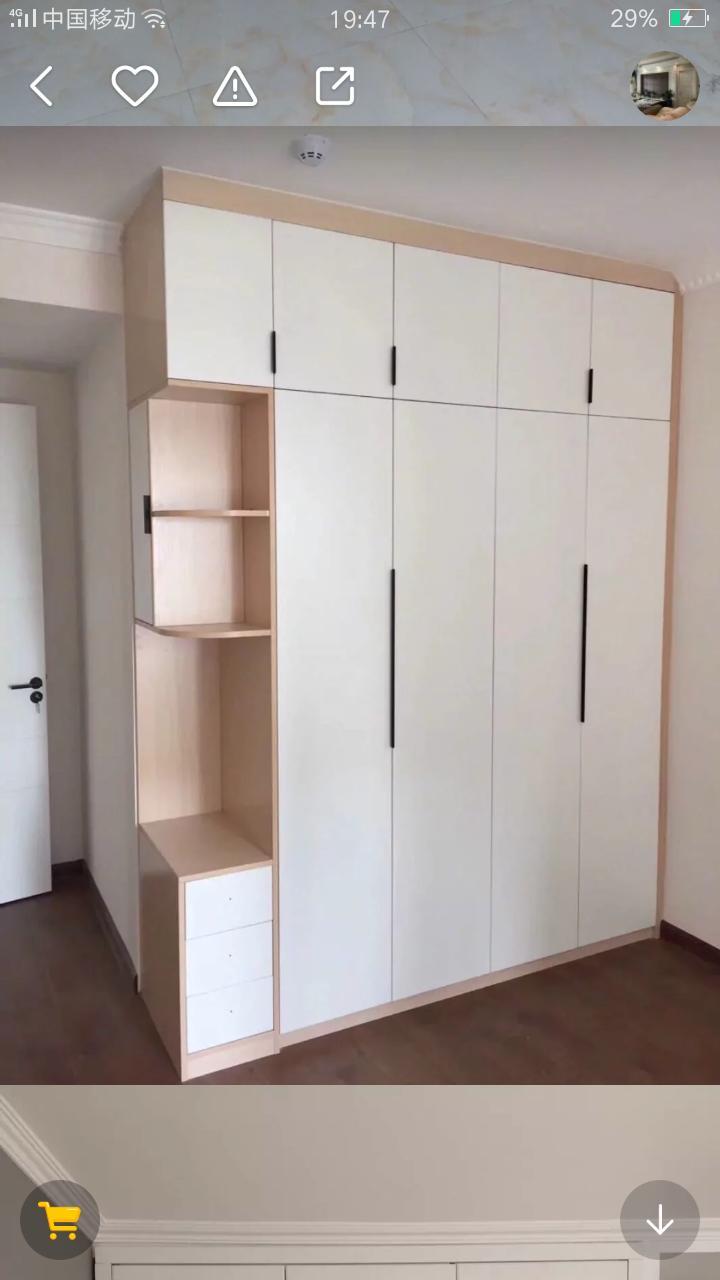 衣柜原木和白色搭配,木工师傅做工能做吗,还是全屋定制的才有?想做原木和白色搭配