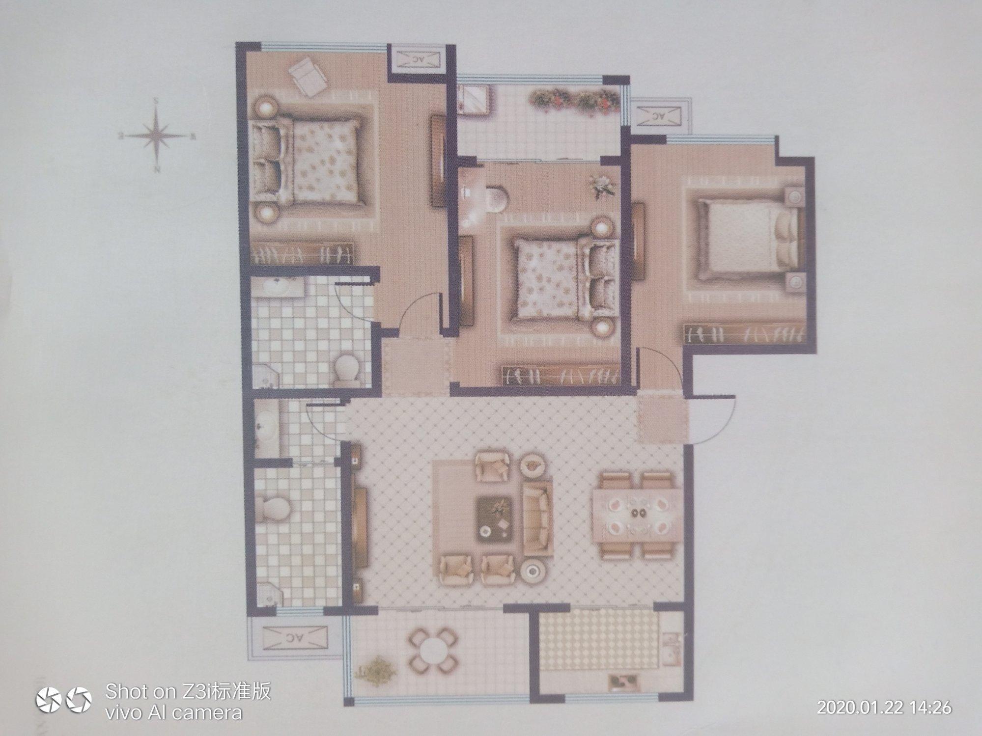 三室朝阳客厅餐厅在一起怎么设计呢?