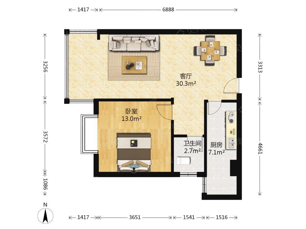 一室两厅一厨一卫,怎么设计两室最完美