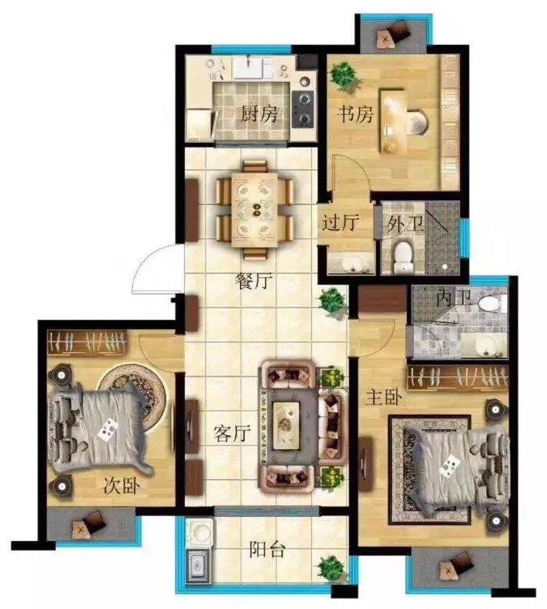 这样的户型   客厅与餐厅在一起!客厅两边分别连着主次卧室,寻求各位提供意见!!