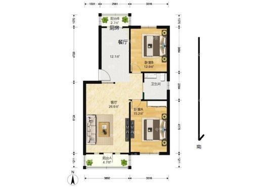 可以帮我看下户型图  给点建议  厨房有点窄  主卧和客厅都是落地阳台