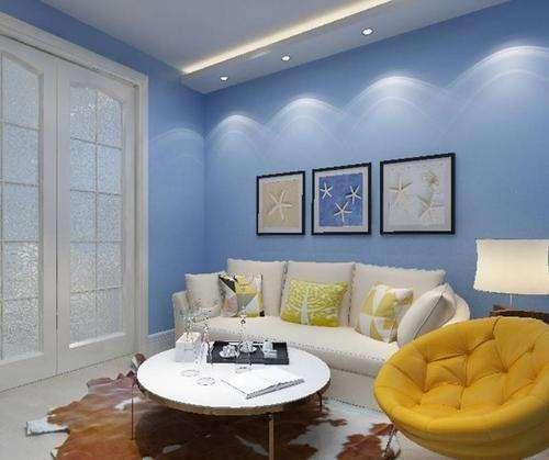 现代简约风格,客厅浅蓝色墙布墙面,浅灰地砖,配什么颜色窗帘搭呢?🙏🙏