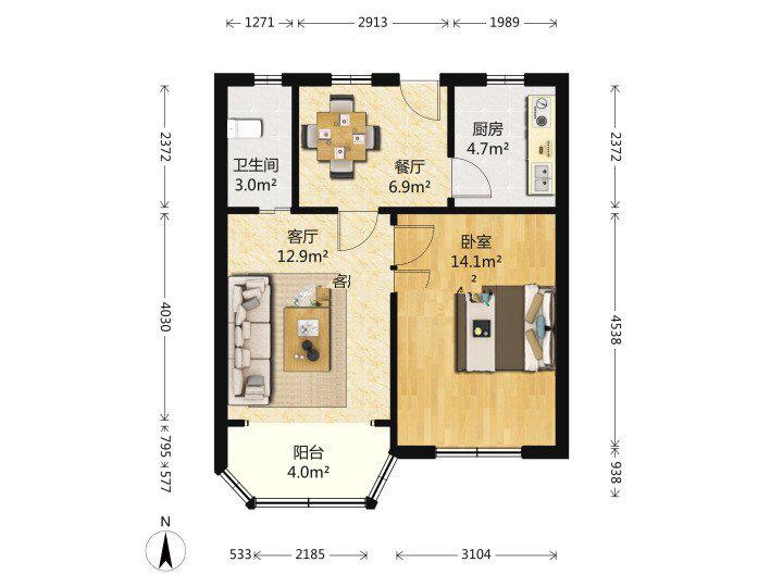 这样的房型该怎么设计,想把客厅改卧室但又没有活动区域