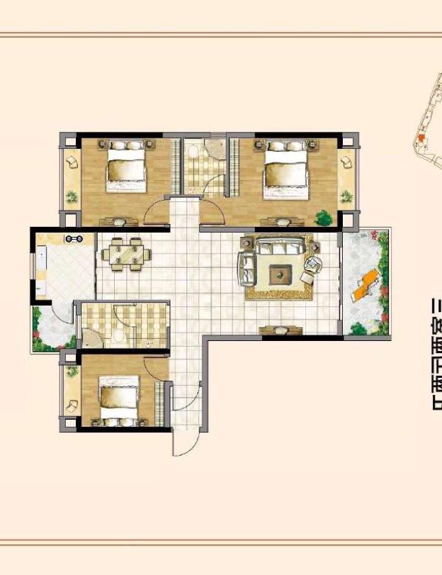 卫生间和厨房共用一个生活阳台