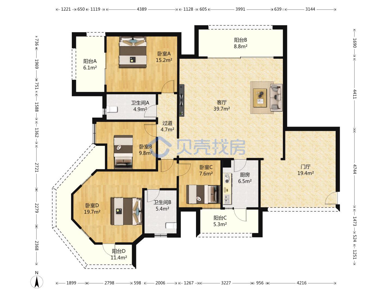 这个户型可以如何调整,要求四个卧室