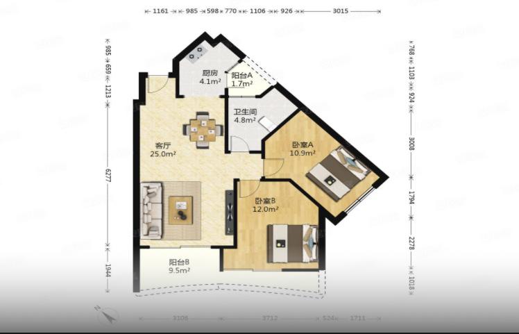 以下户型有办法改成3房吗?