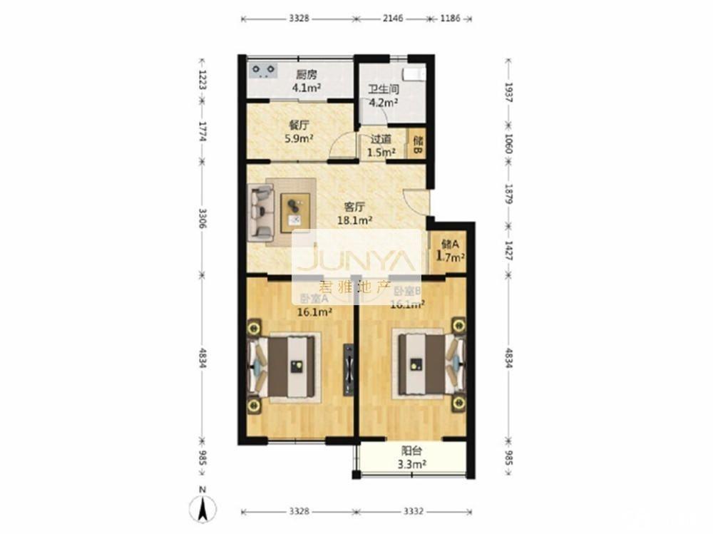89平两室一厅,两个朝南卧室,暗厅,布局如下
