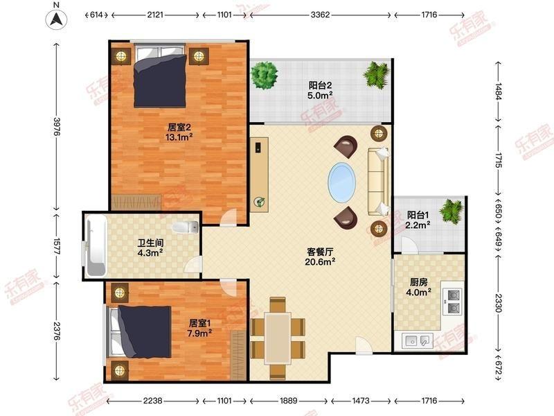 64平方二房改三房,附图,怎样改比较好
