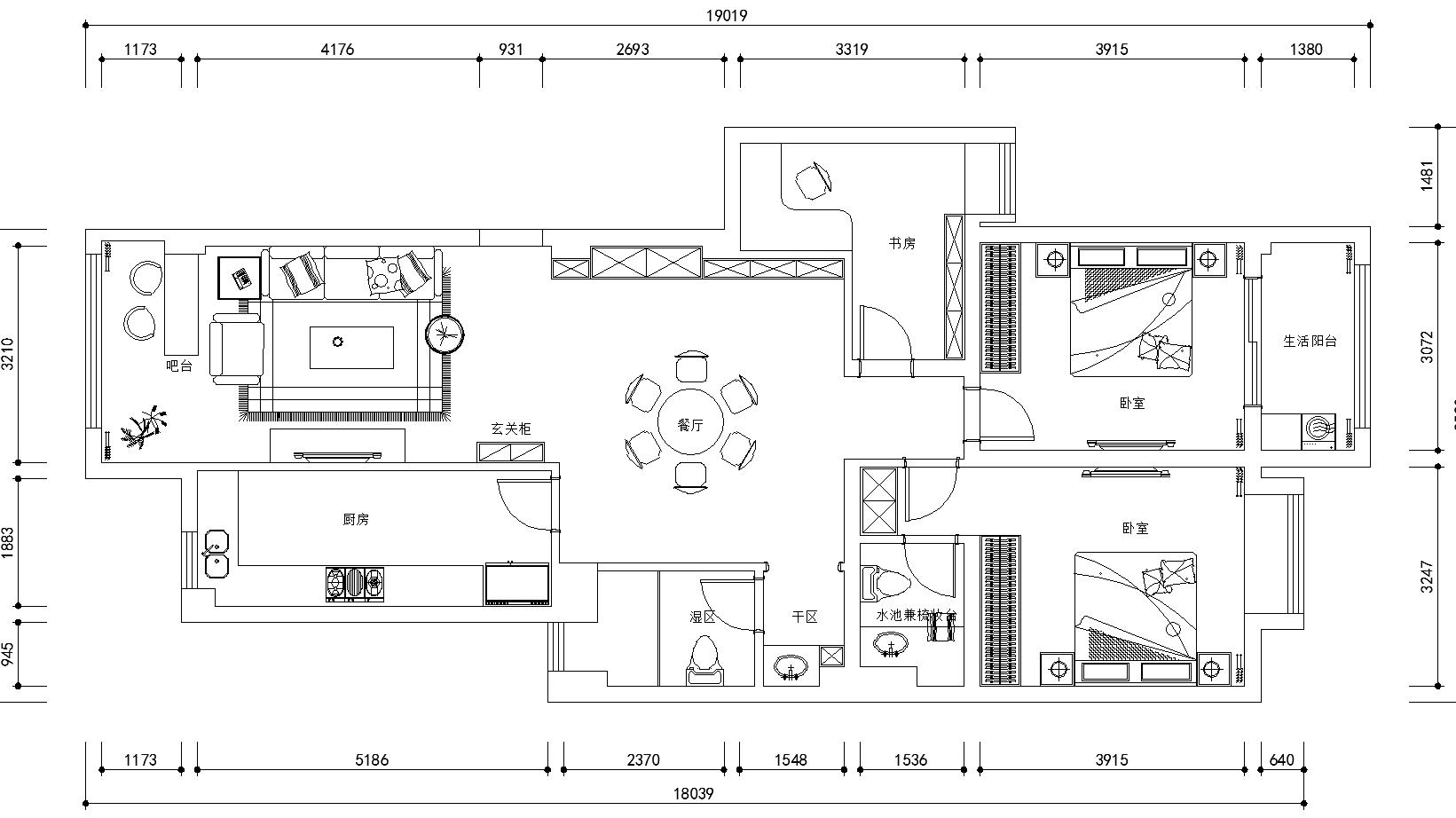 想了几个方案都不喜欢 怎么设计将客厅变的不窄(不要开放厨房)
