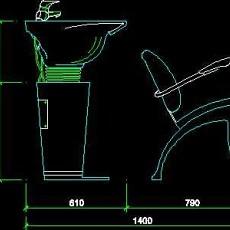 美容美发接待台、工作台装修施工图纸、cad详图素材95--CAD整体案例