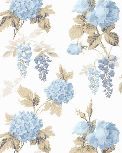 蓝白色系韩式墙纸贴图