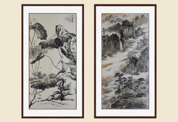 中式书法竖壁画贴图