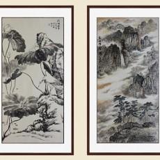 中式書法豎壁畫貼圖