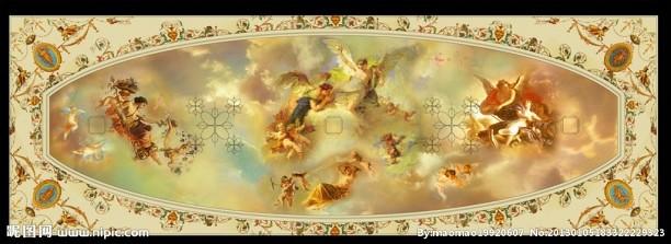 歐式天頂壁畫貼圖