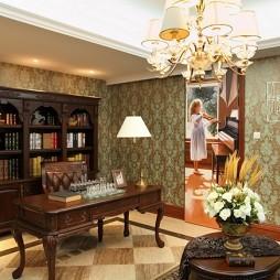 混搭风格大户型豪华书房书柜书桌花纹壁纸装修效果图片
