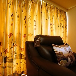 中式客厅窗帘装修效果图