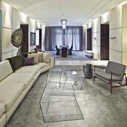 房屋细长形客厅玻璃茶几装修效果图