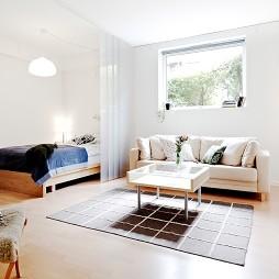 混搭风格房屋小客厅与卧室玻璃隔断装修效果图