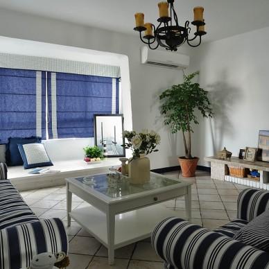 别墅地中海风格带榻榻米客厅窗帘装修效果图