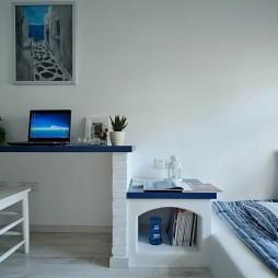 2017地中海风格小面积卧室兼书房书桌装修效果图