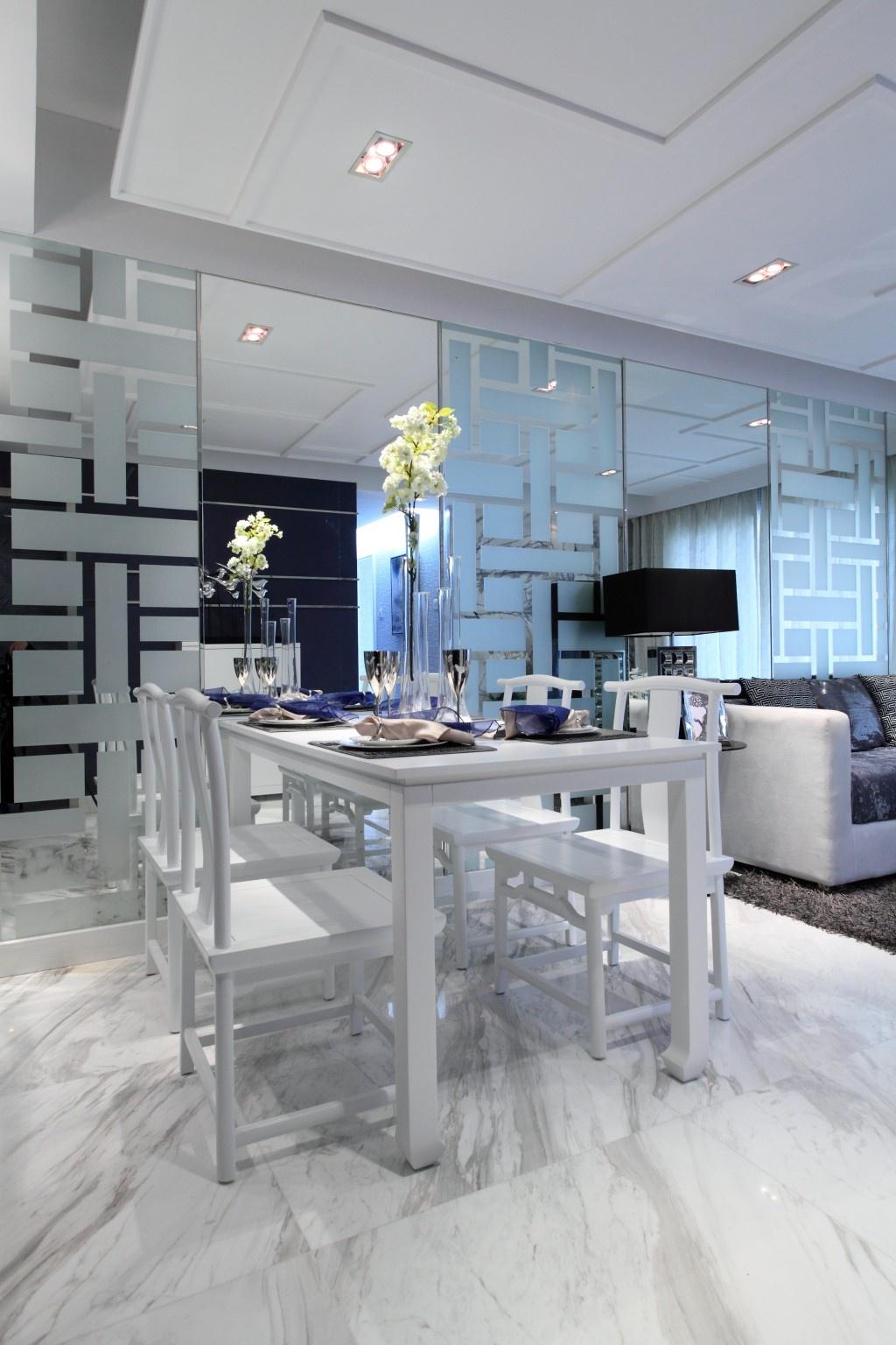 中式风格餐厅背景墙_廊桥样板房餐厅镜子背景墙装修效果图 – 设计本装修效果图