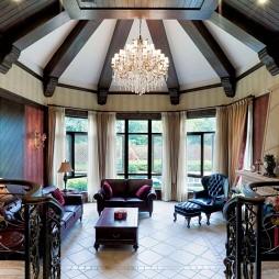 杭州九溪玫瑰园地中海别墅房屋客厅精装吊顶装修效果图