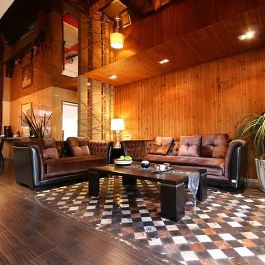 田园混搭风格样板房客厅实木背景墙装修效果图