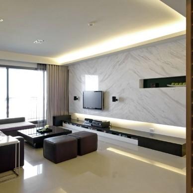 现代风格二居室设计客厅玄关酒柜装修效果图