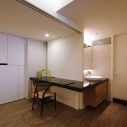 现代台中劳斯莱斯大楼陈宅玄关吧台洗手盆装修效果图