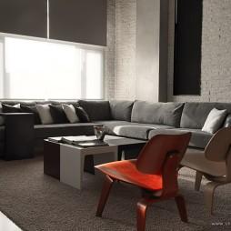 台北某复式房设计现代客厅飘窗窗帘装修效果图