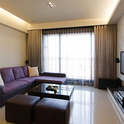 现代风格二居室设计客厅飘窗落地窗帘装修效果图