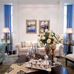 别墅经典简欧室内客厅蓝色窗帘装修效果图