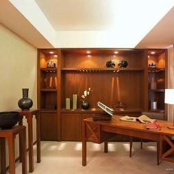 红木中式书房家具装修效果图