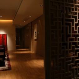 中式客厅玄关镂空隔断装修效果图