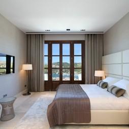 西班牙马略卡岛休闲别墅设计客厅卧室窗帘装修效果图