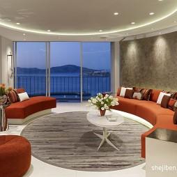 美国旧金山公寓现代客厅圆形落地窗装修效果图