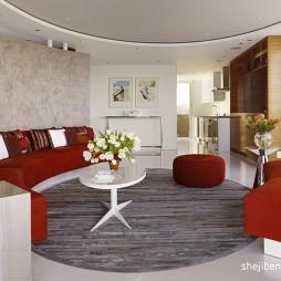 旧金山公寓现代客厅液体背景墙装修效果图