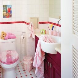 田园风格时尚家庭室内主卫生间拼花地砖洗手盆镜子装修效果图片