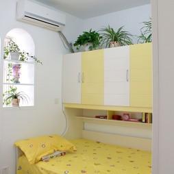 2017田园风格三室一厅女孩儿童房书柜装修效果图片