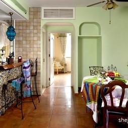 地中海风格开放式L型4平米小面积家居厨房蓝色橱柜装修效果图片