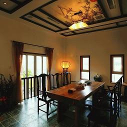 云母天郎别墅古典中式风格餐厅吊顶效果图
