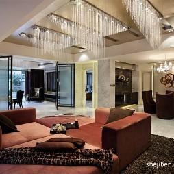 香港名师王启贤作品银线景峰混搭客厅水晶吊灯装修效果图