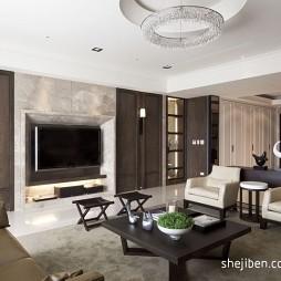 东方花广黄宅珥本设计中式客厅实木家具装修效果图