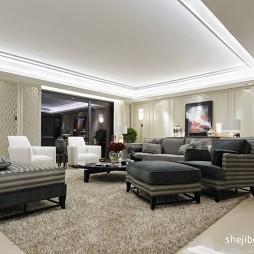 简欧式客厅长方形吊顶灯池装修效果图