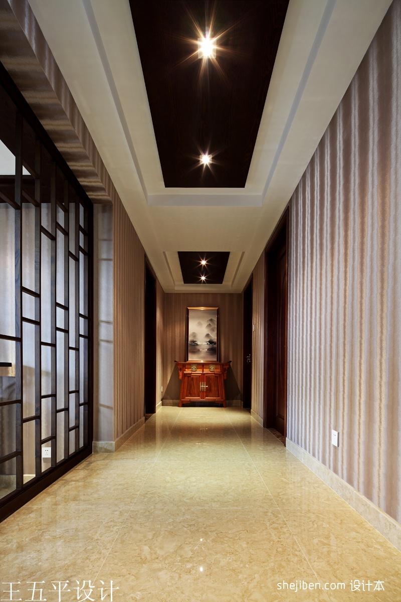 简欧风格装修图片_中式风格走廊过道吊顶装修效果图 – 设计本装修效果图