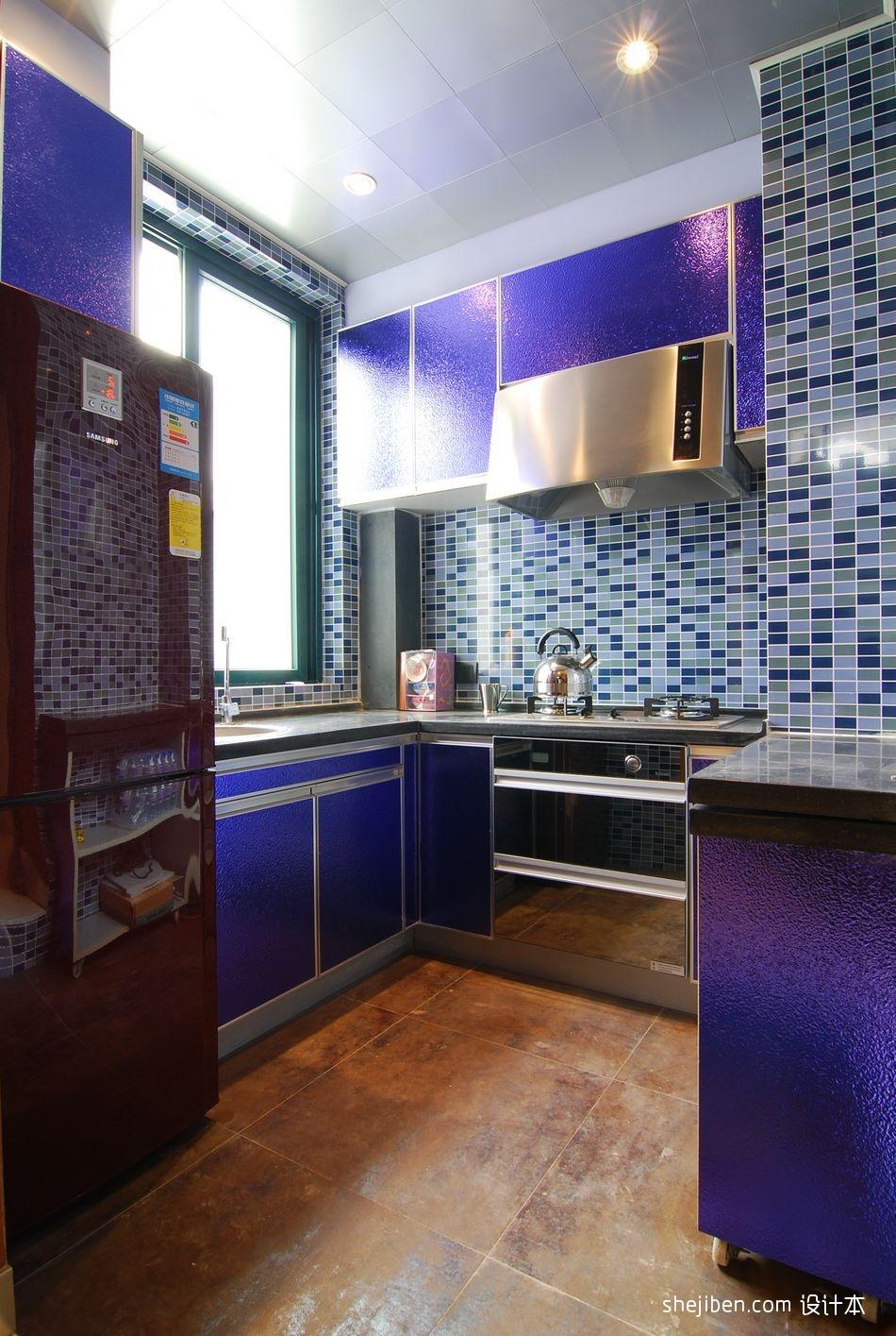 家居橱柜_现代风格开放式L型小面积家居厨房蓝色橱柜装修效果图 – 设计 ...