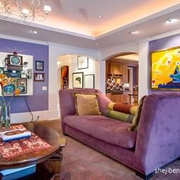 别墅设计客厅手绘挂画装修效果图