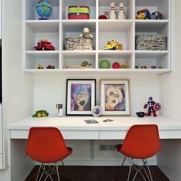 2017现代风格时尚男孩儿童房书桌书柜装修效果图片
