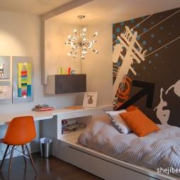 2017现代风格三居室创意男孩儿童房手绘背景墙装修效果图片