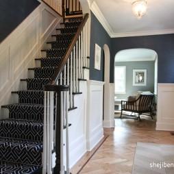 2017美式风格别墅高档实木楼梯扶手装修效果图片